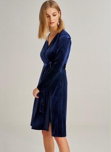 Monamoda Kruvaze Yaka Kadife Elbise Lacivert